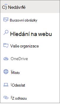 Obrázek možností výběru souboru
