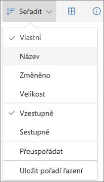 Snímek obrazovky s nabídkou Seřadit na OneDrivu