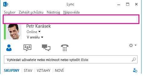 Snímek obrazovky horní části hlavního okna Lyncu se zvýrazněným polem osobní poznámky