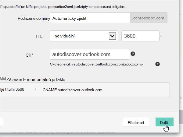 Přidání CNAME OVH hodnoty a vyberte Next_C3_201752910115