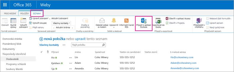 Vyberte Připojit k Outlooku, aby se synchronizoval seznam kontaktů s Outlookem.