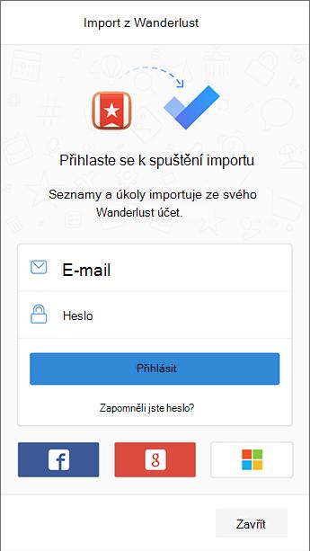 Snímek obrazovky s přihlašovací obrazovkou, která Wunderlist otevřenou v Importéru.