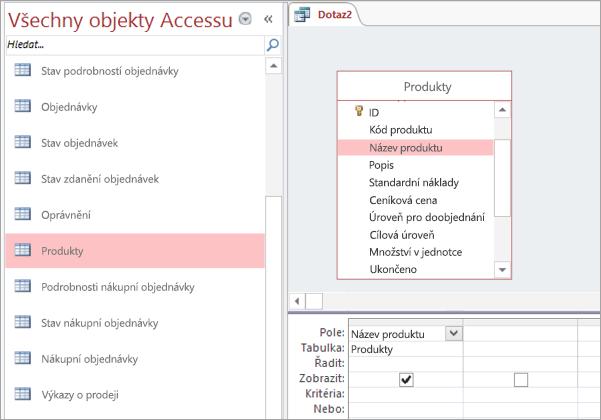 Snímek obrazovky se zobrazením všechny objekty Accessu