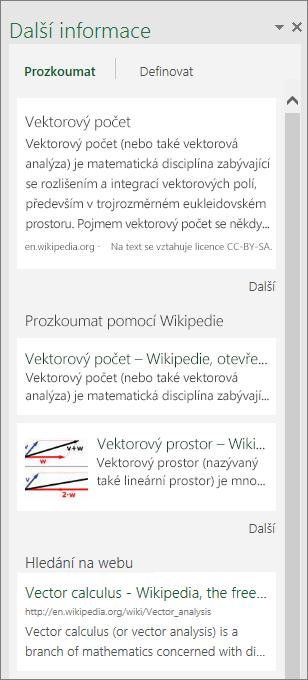 Podokno Další informace v Excelu 2016 pro Windows