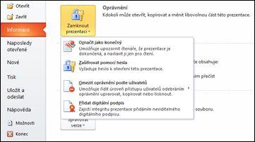 Tlačítko Zamknout prezentaci s možnostmi