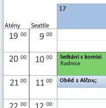 V kalendáři je zobrazeno více časových pásem