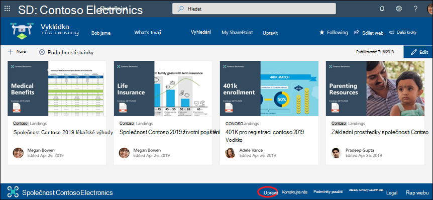 Přidání nebo úprava odkazů a štítků v zápatí komunikačního webu SharePointu