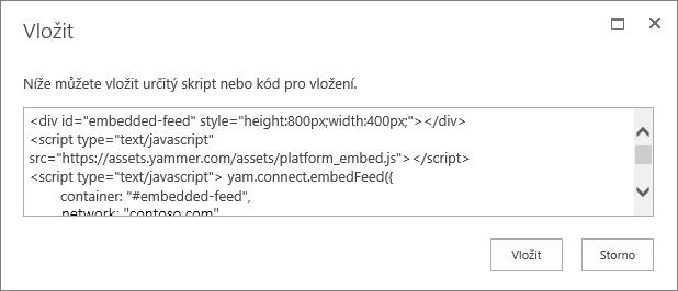 Vložení skriptu do webové části Script
