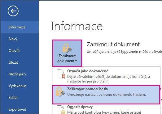 Chraňte svůj dokument pomocí hesla.
