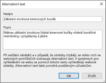 Snímek obrazovky dialogu Alternativní text ve OneNotu s příklady textu v polích Název a Popis
