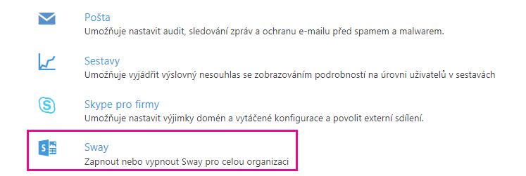 """Na obrazovce """"Služby adoplňky"""" přejděte dolů aklikněte na Sway."""