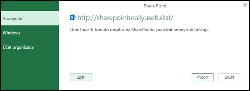 Power Query v Excelu připojení k připojení seznamu služby Sharepoint dialogového okna