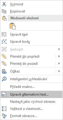 Nabídka Upravit alternativní text obrazců v Excelu pro Win32