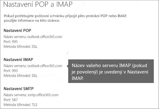 Zobrazuje odkaz pro nastavení přístupu POP nebo IMAP.