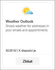 Snímek obrazovky s doplňkem Weather Outlook dostupným s bezplatnou zkušební nebo placenou verzí.