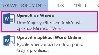 Snímek obrazovky Wordu Online s vybraným příkazem Upravit ve Wordu
