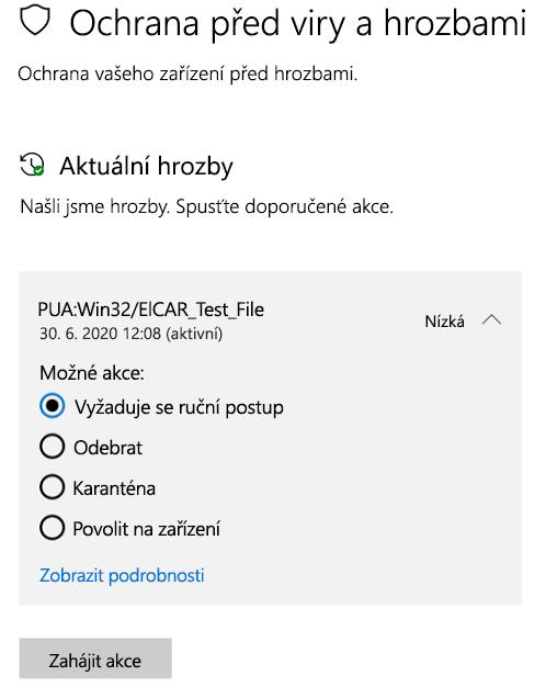 Akce, které můžete provést, když Zabezpečení Windows detekuje potenciálně nežádoucí aplikaci.