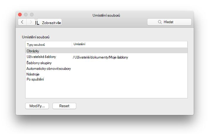 snímek obrazovky s panelem předvoleb umístění souborů z Microsoft Wordu