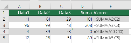 Pokud vzorec neodpovídá modelu sousedících vzorců, Excel zobrazí chybu.