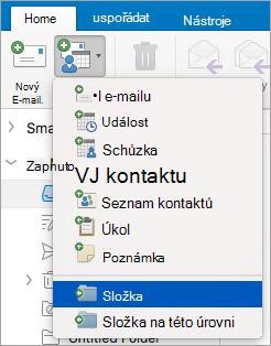 Zobrazuje vybrat složku ze seznamu nové položky.