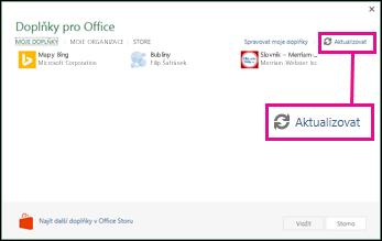 Tlačítko Aktualizovat pro doplňky Office