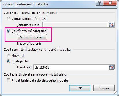 Dialogové okno Vytvořit kontingenční tabulku svybranou možností Použít externí zdroj dat