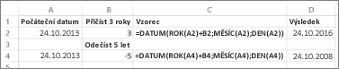 Příklady přičítání nebo odečítání kalendářních dat