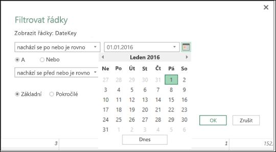 Podpora výběru data v Power BI v Excelu pro vstupní hodnoty data v dialozích Filtrovat řádky a Podmíněný sloupec