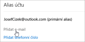 Snímek obrazovky s tlačítkem přidat e-mailu.