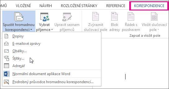Snímek obrazovky s kartou Korespondence ve Wordu, na které je příkaz Spustit hromadnou korespondenci a seznam dostupných typů hromadné korespondence, které můžete spustit