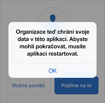 Snímek obrazovky, na kterém vidíte, že organizace chrání vaši aplikaci Outlook