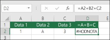 Příklad špatné konstrukce vzorce.  Vzorec v buňce D2 je =A2+B2+C2.
