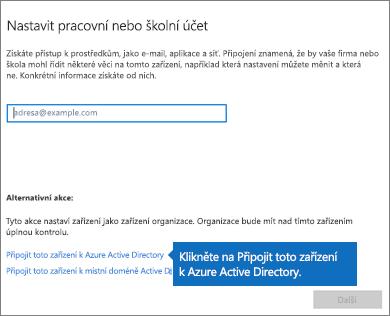 Klikněte na Připojit toto zařízení k Azure Active Directory.