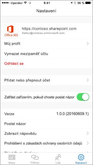 Částečný snímek obrazovky s kartou pro nastavení aplikace SharePoint