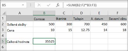 Příklad maticového vzorce, který počítá jeden výsledek