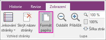 Snímek obrazovky s tlačítkem PaperSize ve OneNotu 2016