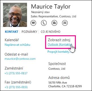 Odkaz pro zobrazení zdroje v Outlooku na kartě kontaktu