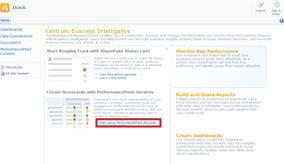 Link to PerformancePoint Services from the Business Intelligence Center