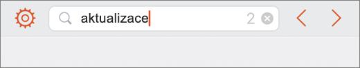 Zobrazí dotaz do vyhledávacího pole v PowerPointu pro iPhone.