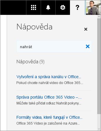 Snímek obrazovky s podoknem nápovědy k Office365 Videu, které zobrazuje výsledky hledání pro nahrání