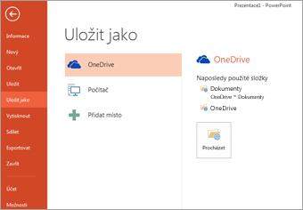 Uložení na můj OneDrive