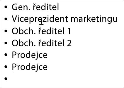 Přidání jmen do polí v diagramu