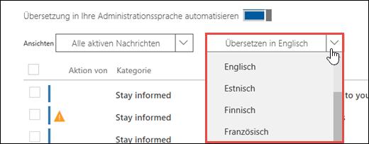 Snímek obrazovky s rozevírací nabídkou jazyků pro překlad v Centru zpráv