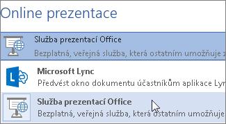 Prezentování online pomocí Služby prezentací Office