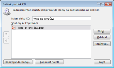 Balení prezentace pro disk CD