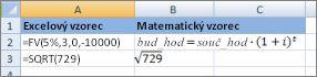 Vzorce a jejich podobné matematické vzorců aplikace Excel