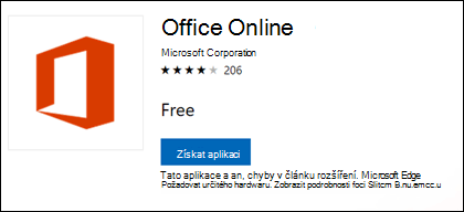 Na webu Office Online rozšíření stránku v Microsoft Store