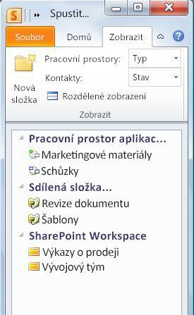 Pracovní prostory rozdělené do kategorií podle typu