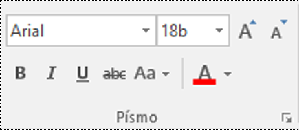 Tlačítko typu písma ve Visiu