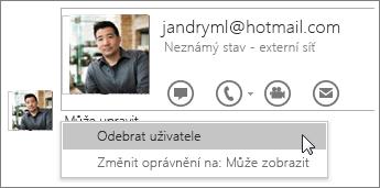 Snímek obrazovky s možnostmi Ukončit sdílení v OneNotu 2016
